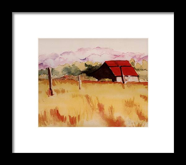Watercolor Landscape Framed Print featuring the painting Sonoma Wheatfield by Patricia Halstead