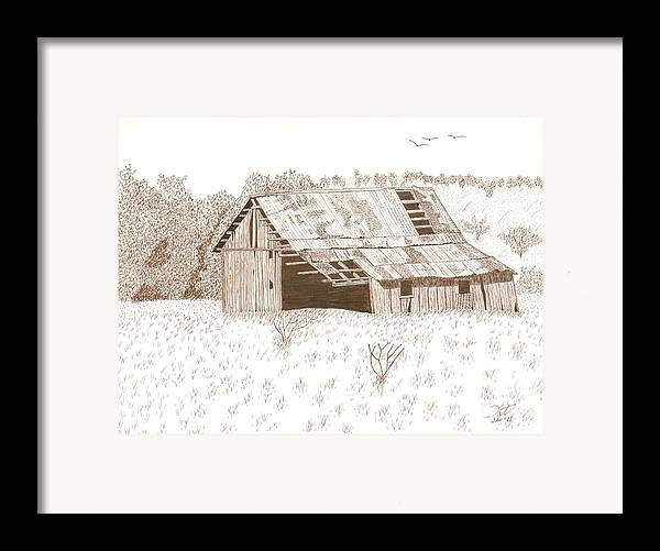 Pen And Ink Framed Print featuring the drawing Sonora Barn by Pat Price