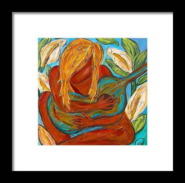 Girl Guitar Flowers Tropical Music Framed Print featuring the painting Sophia by Carol Blanding