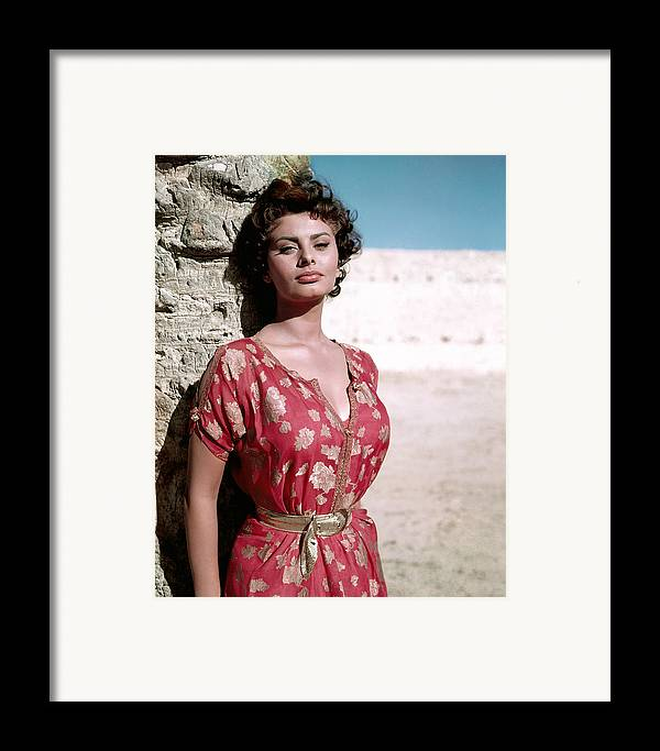 1950s Portraits Framed Print featuring the photograph Sophia Loren, 1950s by Everett