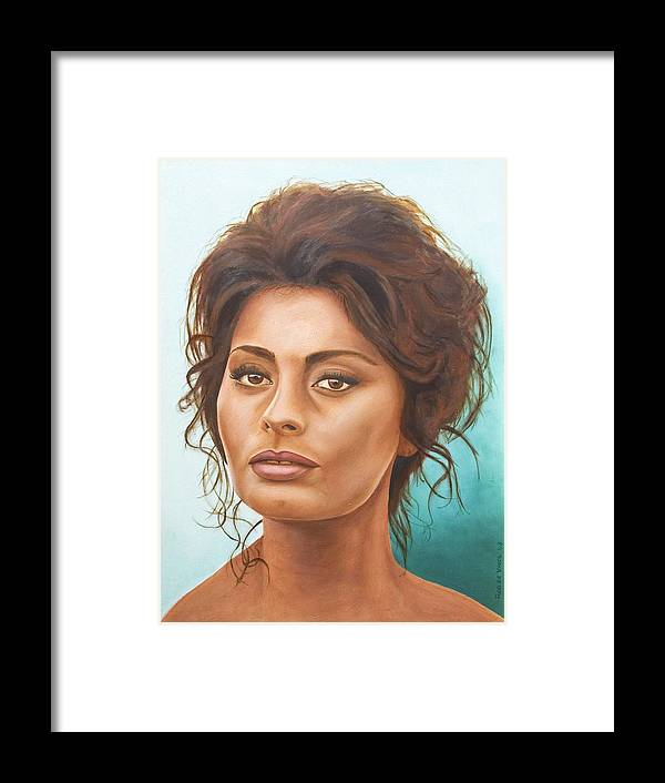Moviestar Framed Print featuring the painting Sophia Loren by Rob De Vries