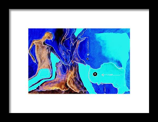 Game Direction Abstract Red Man Framed Print featuring the painting Sophogame by Veronica Jackson