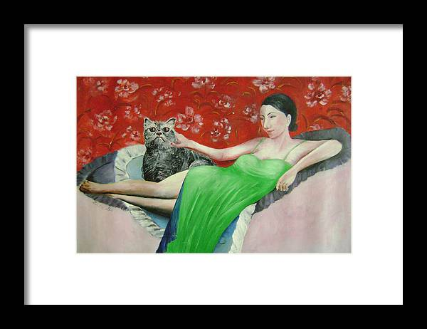 Woman Framed Print featuring the painting Sorcerer And Her Cat by Lian Zhen