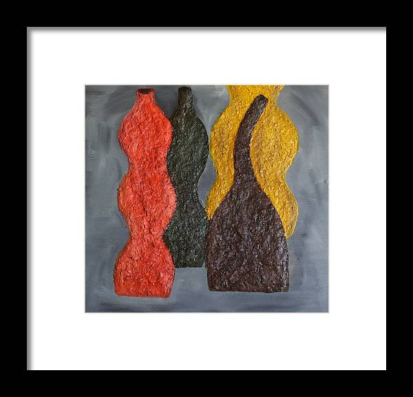 Still Life Paintings Framed Print featuring the painting Sorted Vases by Leslye Miller