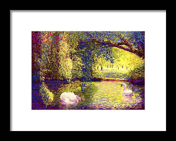 Landscape Framed Print featuring the painting Swans, Soul Mates by Jane Small