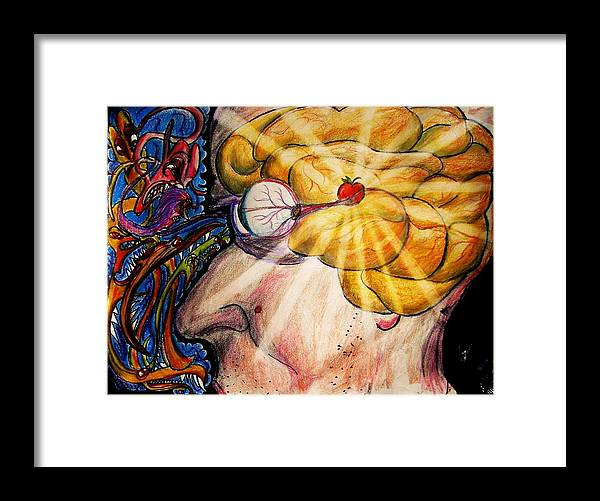 Eye Framed Print featuring the drawing Soul Our Conscious by Richard Hubal