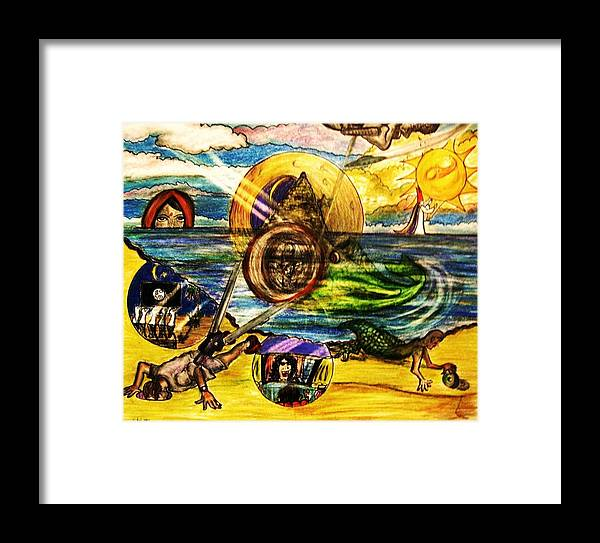 God Framed Print featuring the drawing Soul Searching by Richard Hubal