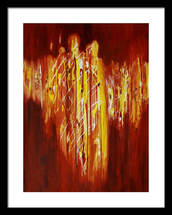 Abstract Framed Print featuring the painting Soul Train by Tara Moorman