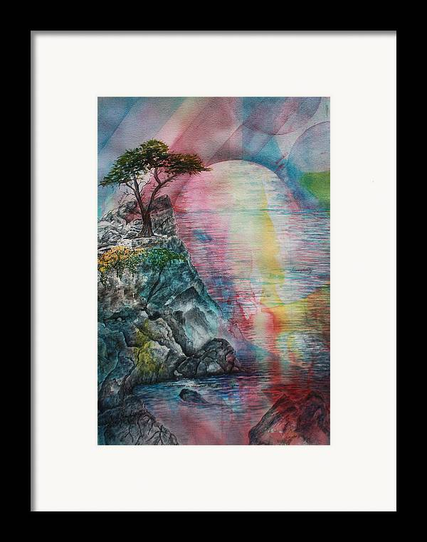 Spiritual Landscape Representing Two Souls Connected Framed Print featuring the painting Soulmates by Patsy Sharpe
