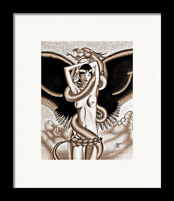 Fantasy Framed Print featuring the digital art Souls Entwined Antiqued by Robert Ball