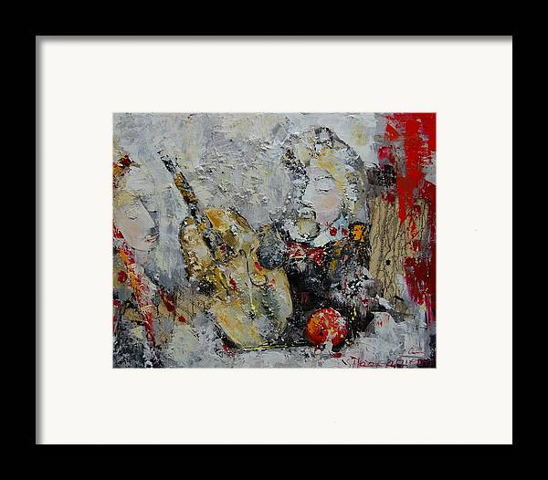 Abstract Framed Print featuring the painting Sound Of Love by Sari Haapaniemi