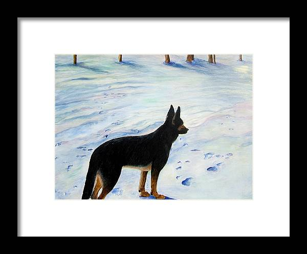 German Shepherd Framed Print featuring the painting Sounds Of Silence by JoLyn Holladay