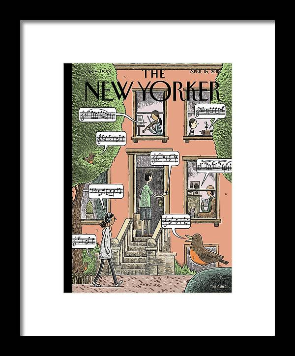 Soundtrack To Spring Framed Print featuring the drawing Soundtrack To Spring by Tom Gauld