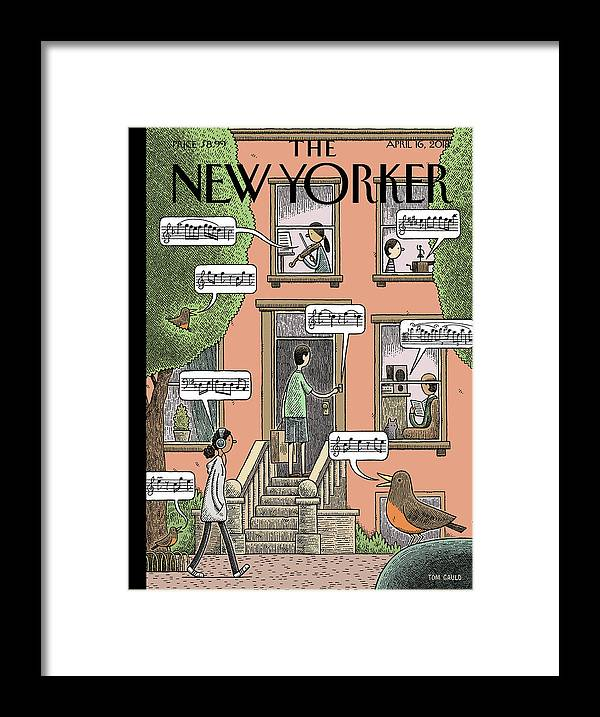 Soundtrack To Spring Framed Print featuring the painting Soundtrack to Spring by Tom Gauld