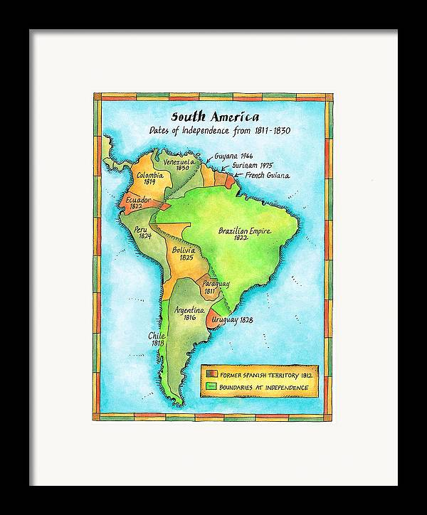 Vertical Framed Print featuring the digital art South American Independence by Jennifer Thermes