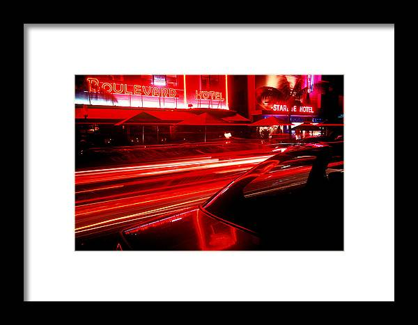 Neon Framed Print featuring the photograph South Beach Red by Brad Rickerby