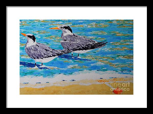 Beach Art Framed Print featuring the painting South Beach Visitors by Art Mantia