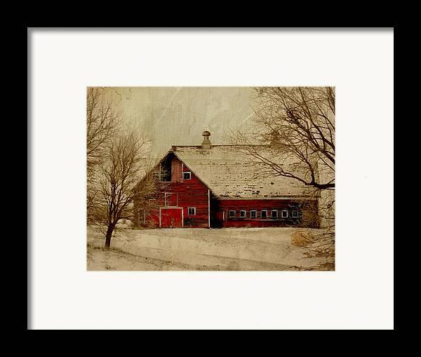Red Framed Print featuring the digital art South Dakota Barn by Julie Hamilton