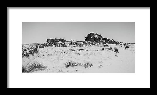 Snow Framed Print featuring the photograph South Hessary Tor In The Snow by Helen Northcott