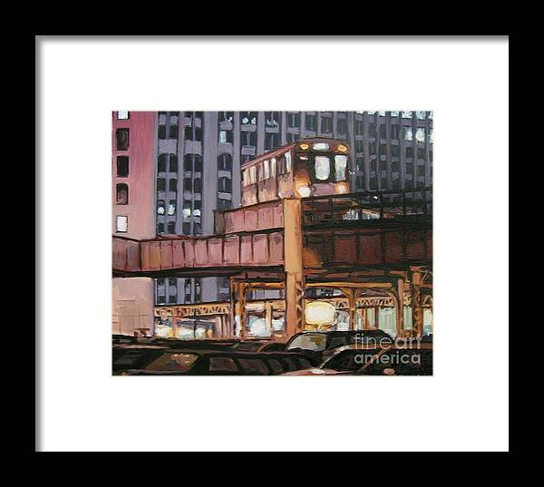 Christopher T. Buoscio Framed Print featuring the painting South Loop El by Christopher Buoscio
