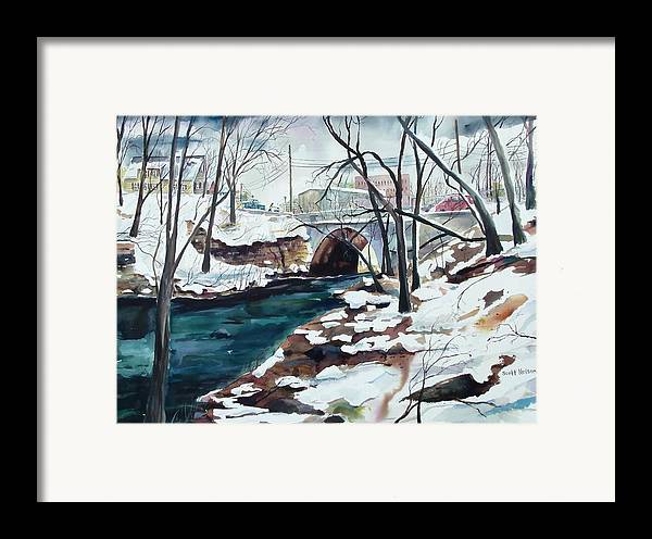Watercolor Framed Print featuring the painting South Main Street Bridge by Scott Nelson
