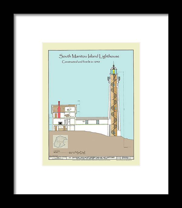 South Manitou Island Lighthouse Framed Print featuring the drawing South Manitou Island Lighthouse Color Drawing by Jerry McElroy