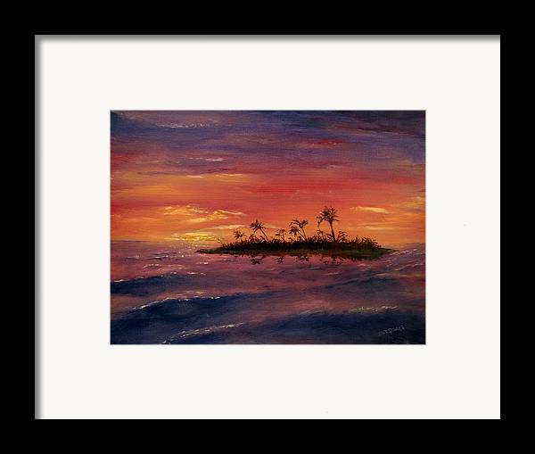 Sunset Framed Print featuring the painting South Pacific Atoll by Jack Skinner