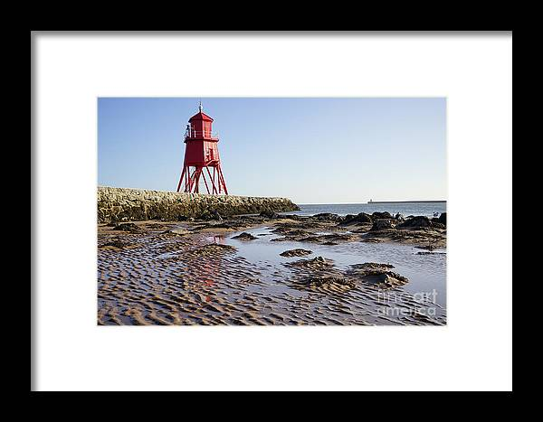 South Shields Groyne Framed Print featuring the photograph South Shields Groyne by Smart Aviation
