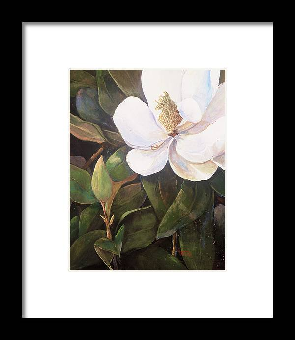 Floral Framed Print featuring the painting Southern Magnolia by Jimmie Trotter