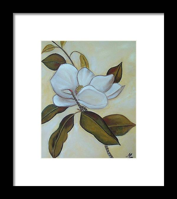 Flowers Framed Print featuring the painting Southern Magnolia by Martha Mullins