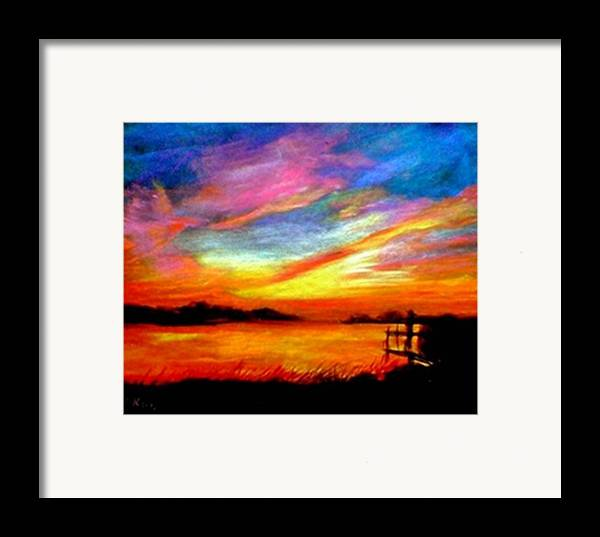 Sunset Framed Print featuring the painting Southern Sunset by Gail Kirtz