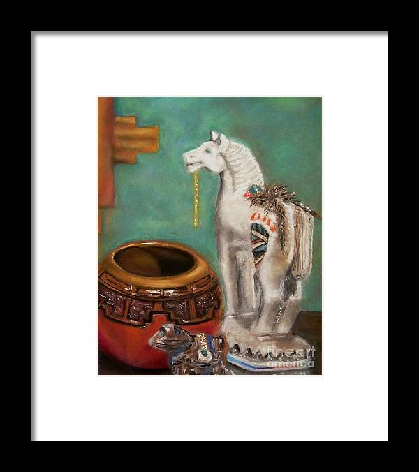 Southwest Art Framed Print featuring the painting Southwest Treasures by Frances Marino