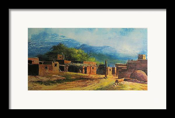 Landscape Framed Print featuring the painting Southwest Village by Robert Carver