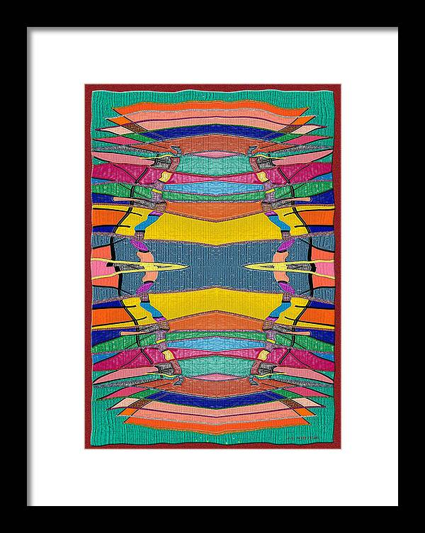 Multicolor Rug Framed Print featuring the digital art Southwestern Rug by Jerry White
