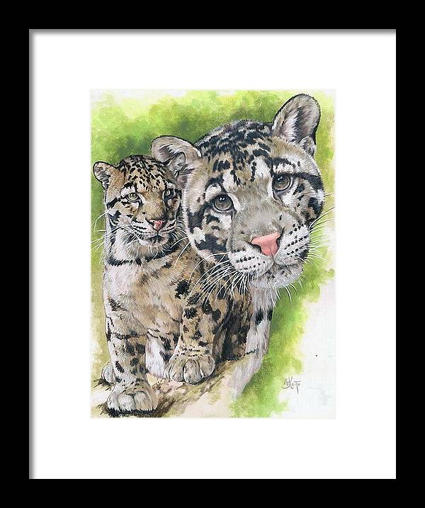 Clouded Leopard Framed Print featuring the mixed media Sovereignty by Barbara Keith