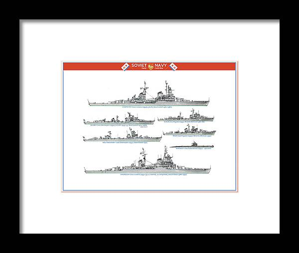 Framed Print featuring the painting Soviet Navy, early cold war by The Collectioner