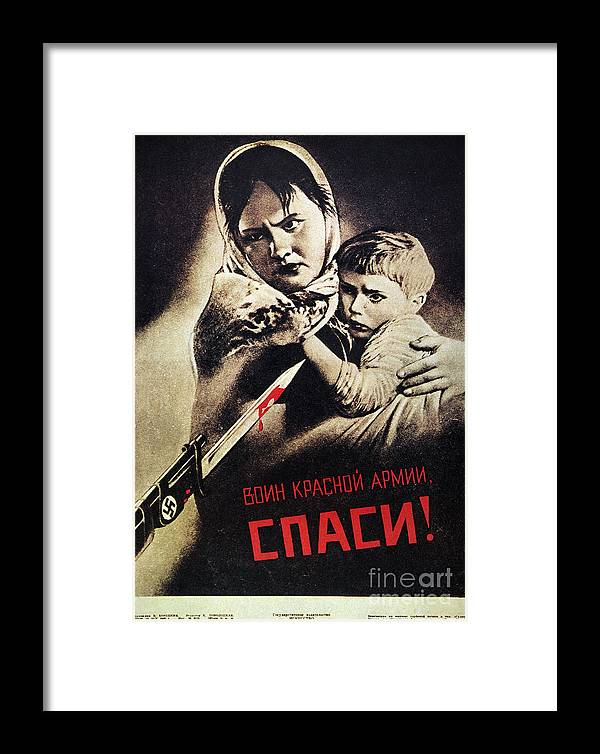 1942 Framed Print featuring the photograph Soviet Poster, 1942 by Granger