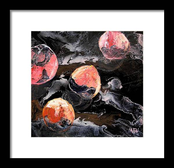 Peaches Framed Print featuring the painting Space Eaten Peaches by Evguenia Men