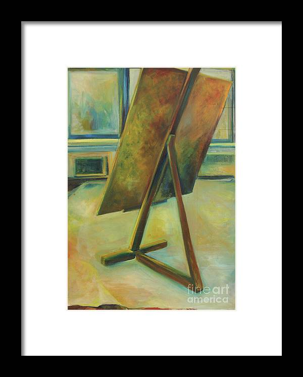 Oil Painting Framed Print featuring the painting Space Filled And Empty by Daun Soden-Greene