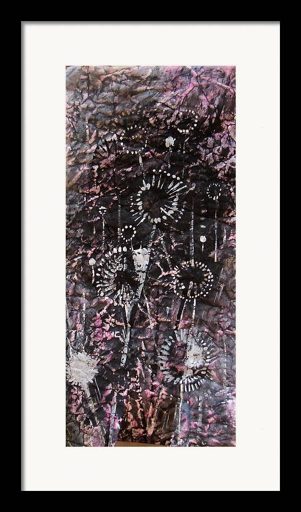 Decorative Framed Print featuring the drawing Space Flowers by Kseniya Nelasova