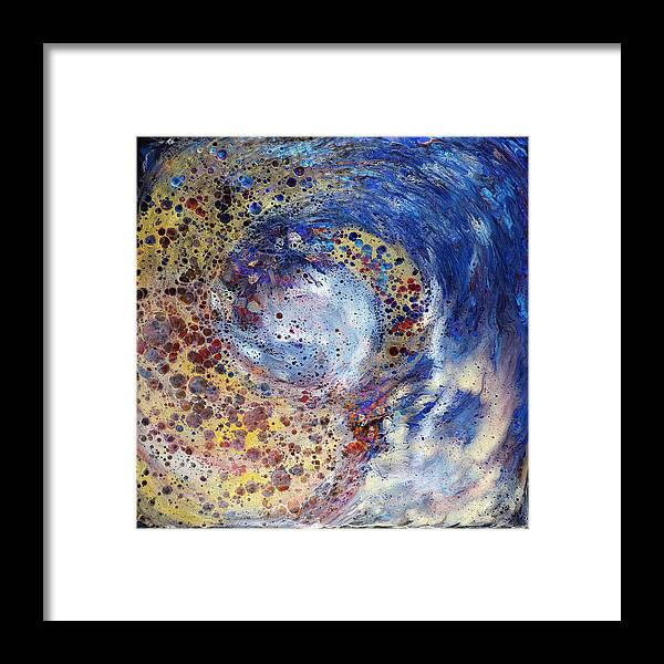 Abstract Framed Print featuring the painting Space Holes by Paul Tokarski