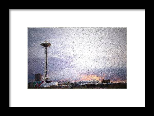 Seattle Framed Print featuring the mixed media Space Needle And Emp At Sunset by James Johnstone