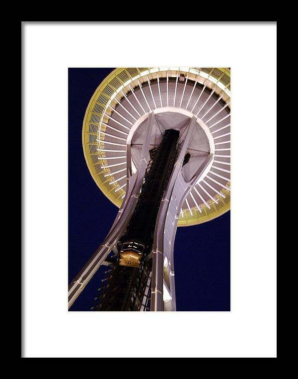 Architecture Framed Print featuring the photograph Space Needle Close-up by Sonja Anderson