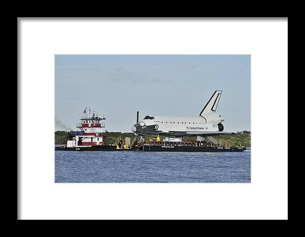 Space Shuttle Inspiration Framed Print featuring the photograph Space Shuttle Inspiration On A Barge by Bradford Martin