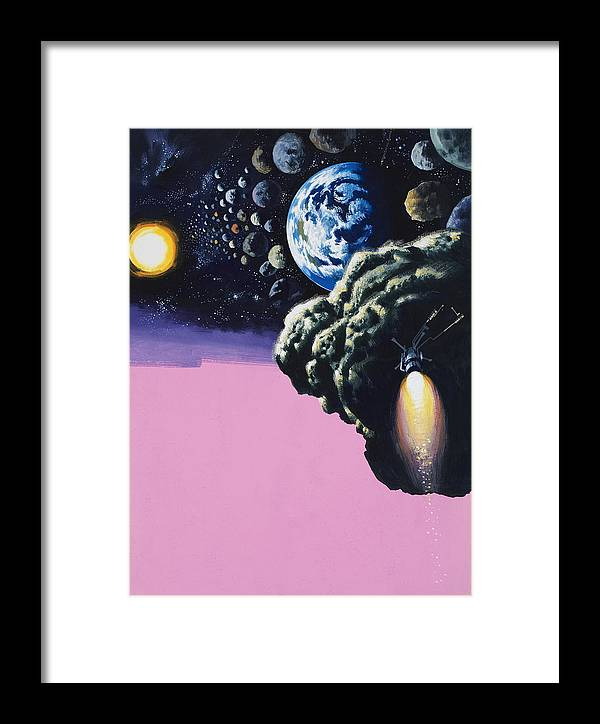 Space;rockets;space Ship;meteorites;planets Framed Print featuring the painting Space by Wilf Hardy