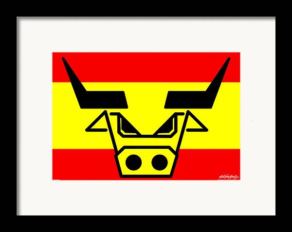 Spanish Bull Framed Print featuring the digital art Spanish Bull by Asbjorn Lonvig
