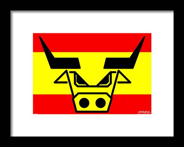 Spanish Bull Framed Print featuring the digital art Spanish Bull by Asbjorn Lonvig