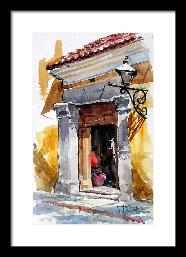 Guatemala Framed Print featuring the painting Spanish Colonial Portal by Tony Van Hasselt