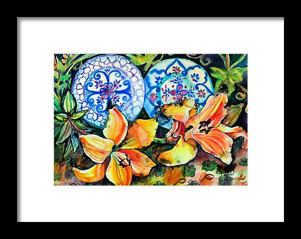 Flowers Framed Print featuring the painting Spanish Plates by Yelena Tylkina