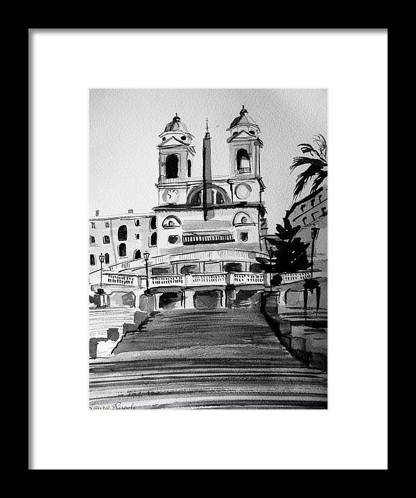 Ink Framed Print featuring the painting Spanish Steps by Laura Rispoli